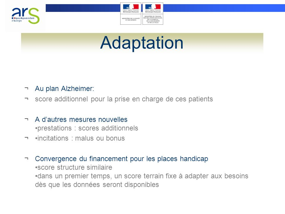 Adaptation Au plan Alzheimer: