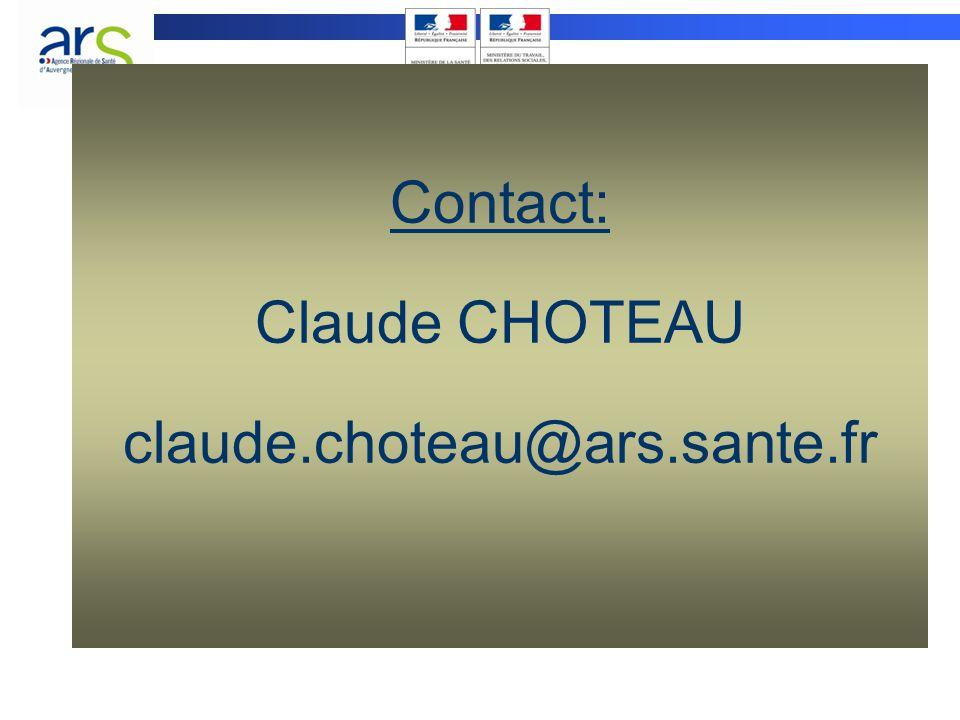 Contact: Claude CHOTEAU claude.choteau@ars.sante.fr