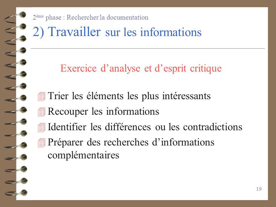 2) Travailler sur les informations