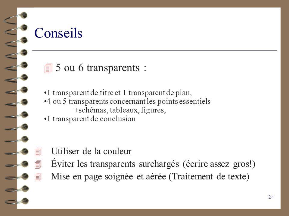 Conseils 5 ou 6 transparents : Utiliser de la couleur
