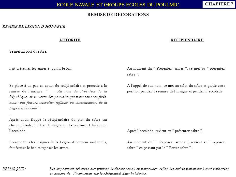 CHAPITRE 7 REMISE DE DECORATIONS REMISE DE LEGION D'HONNEUR AUTORITE