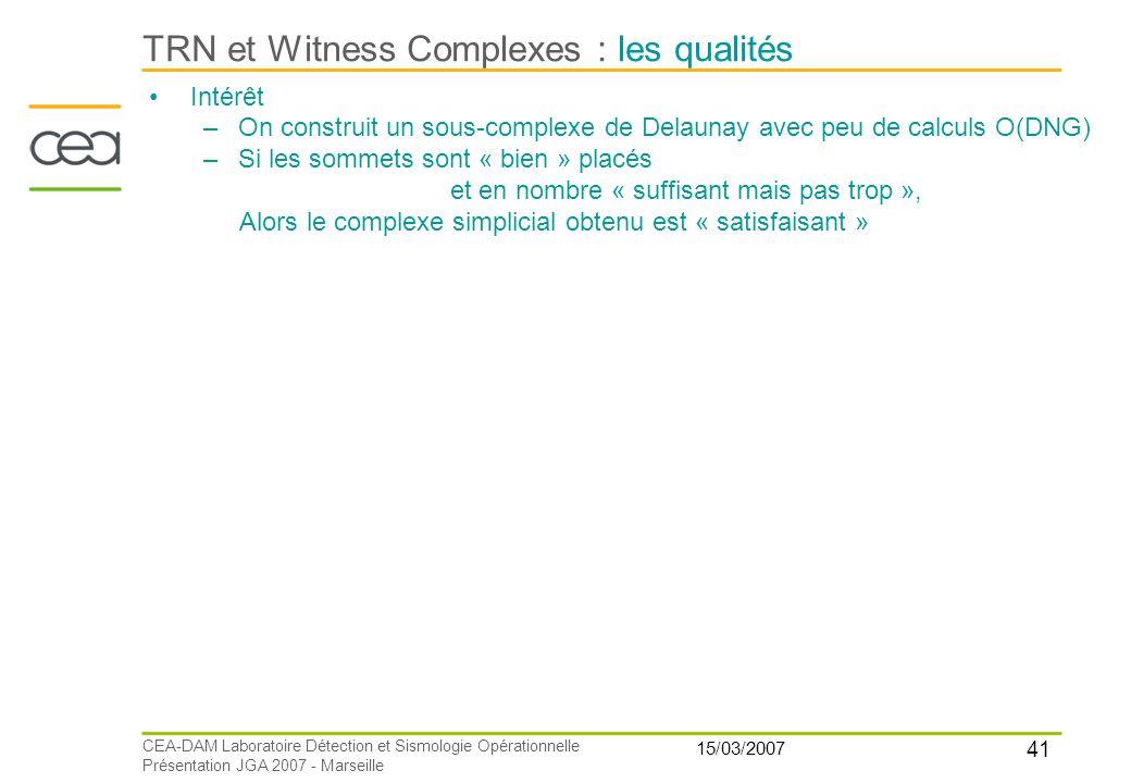TRN et Witness Complexes : les qualités