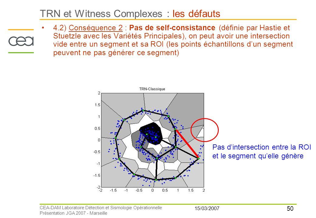 TRN et Witness Complexes : les défauts