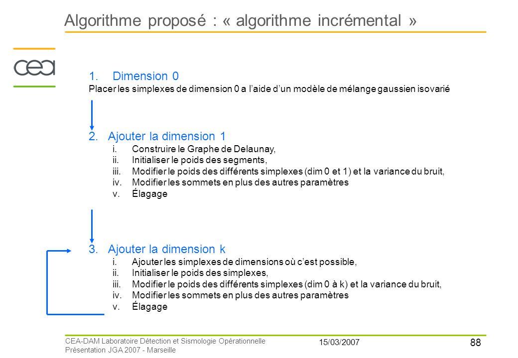 Algorithme proposé : « algorithme incrémental »