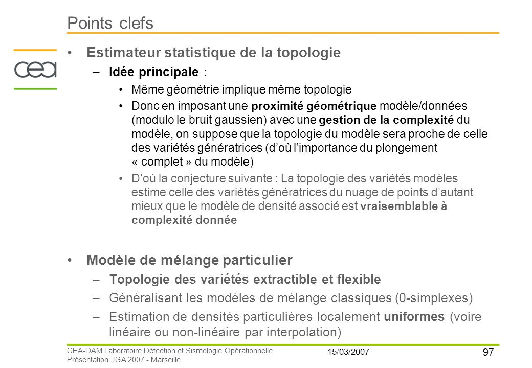 Points clefs Estimateur statistique de la topologie