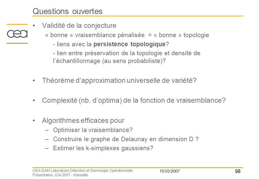 Questions ouvertes Validité de la conjecture