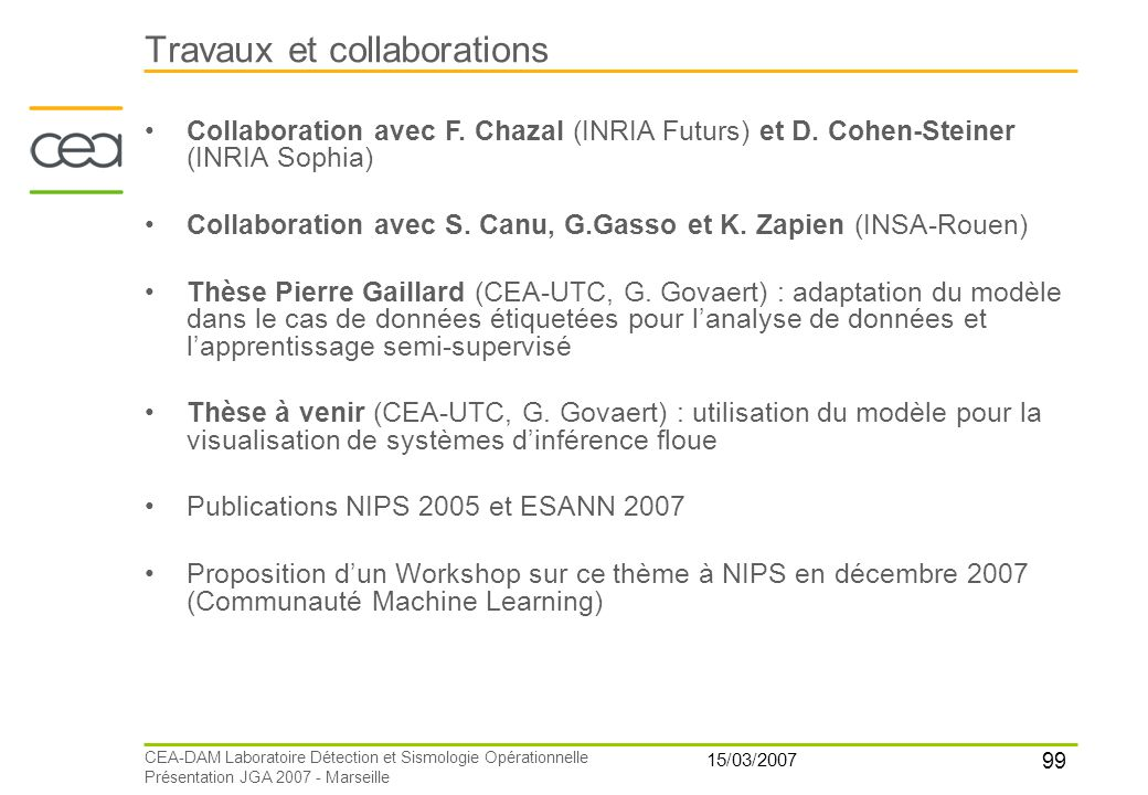 Travaux et collaborations