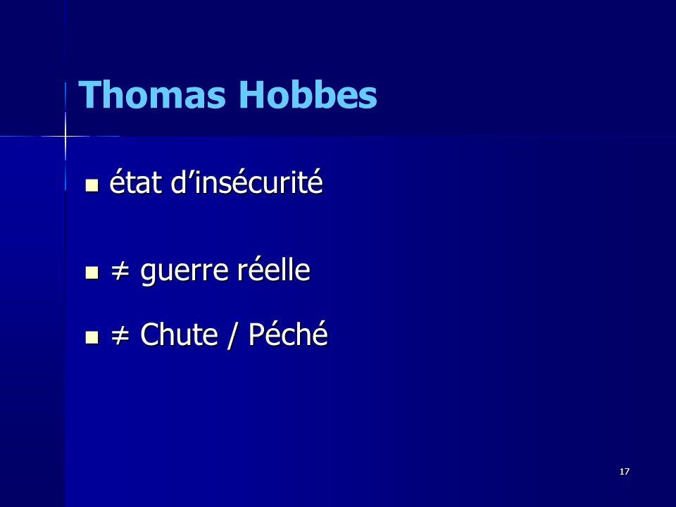 Thomas Hobbes état d'insécurité ≠ guerre réelle ≠ Chute / Péché 17 17