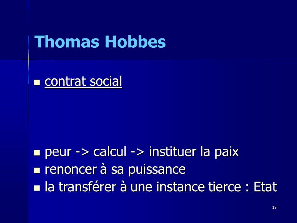 Thomas Hobbes contrat social peur -> calcul -> instituer la paix