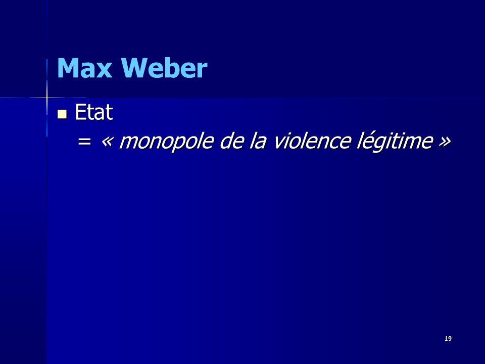 Max Weber Etat = « monopole de la violence légitime » 19 19