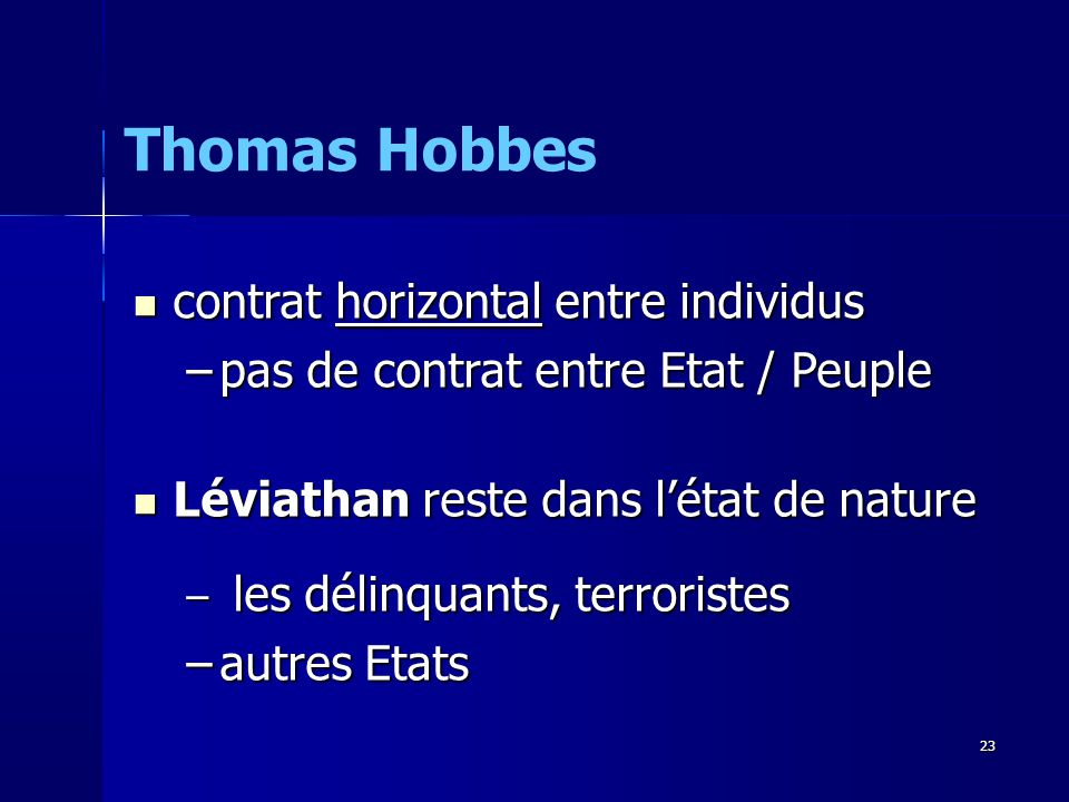 Thomas Hobbes contrat horizontal entre individus