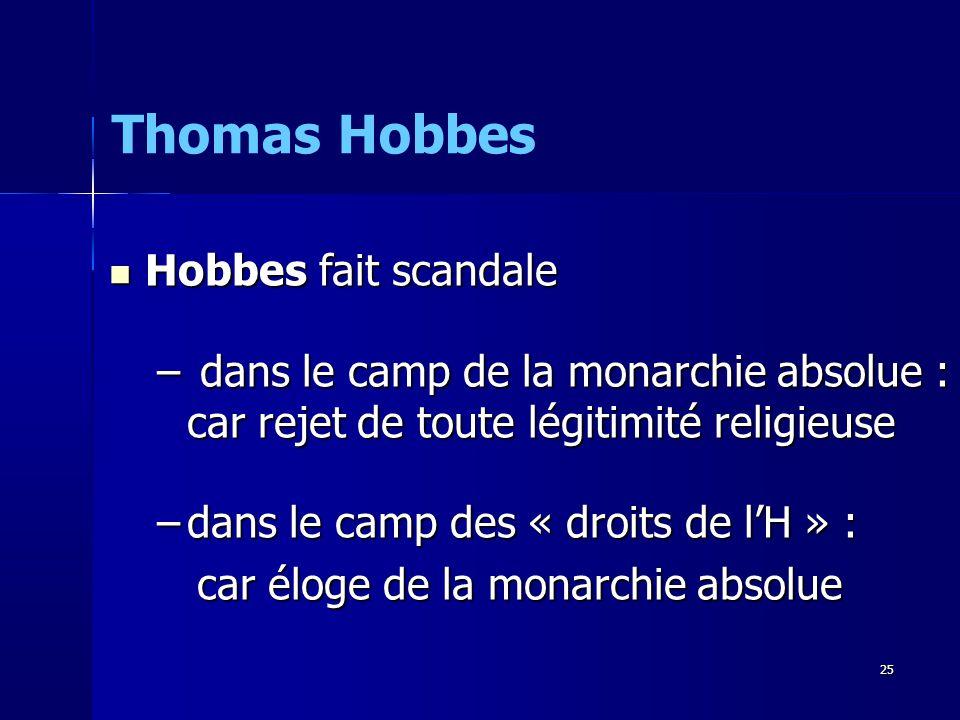 Thomas Hobbes Hobbes fait scandale