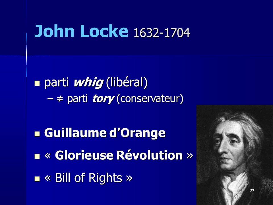 John Locke 1632-1704 parti whig (libéral) Guillaume d'Orange