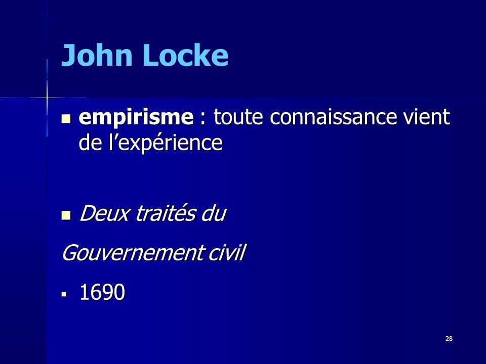 John Locke empirisme : toute connaissance vient de l'expérience