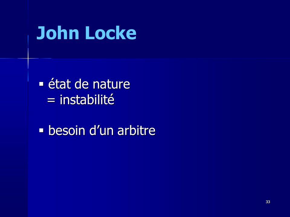 John Locke état de nature = instabilité besoin d'un arbitre 33 33