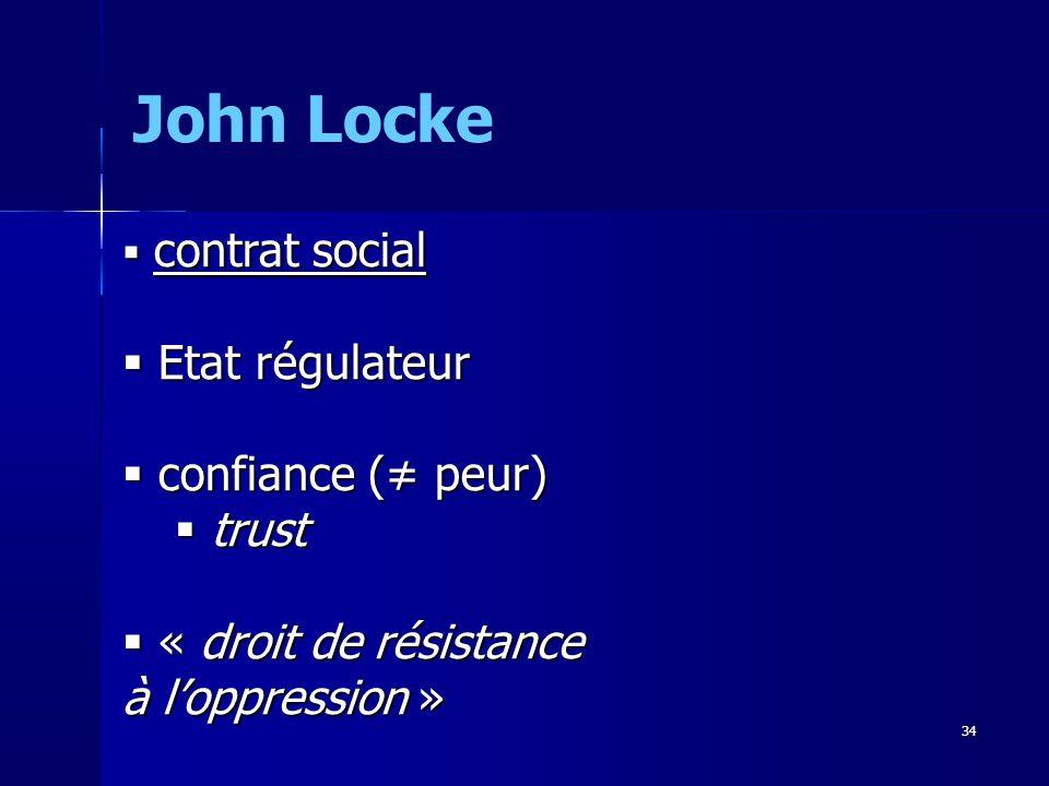 John Locke Etat régulateur confiance (≠ peur) trust