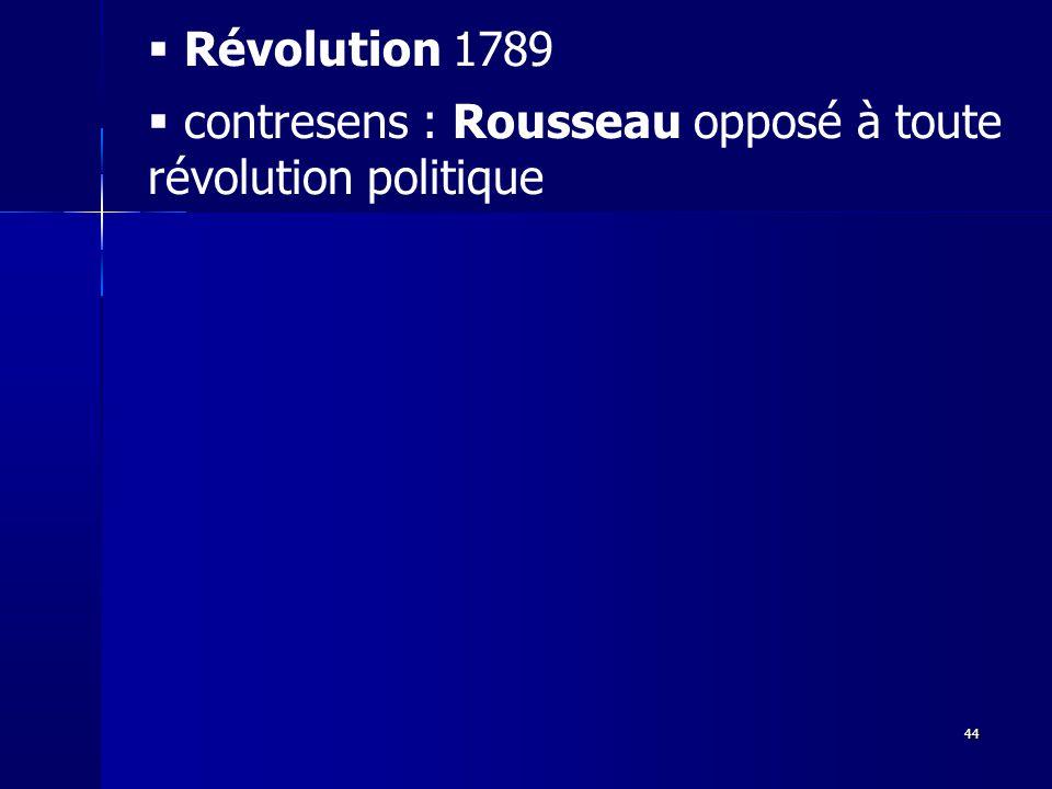 contresens : Rousseau opposé à toute révolution politique