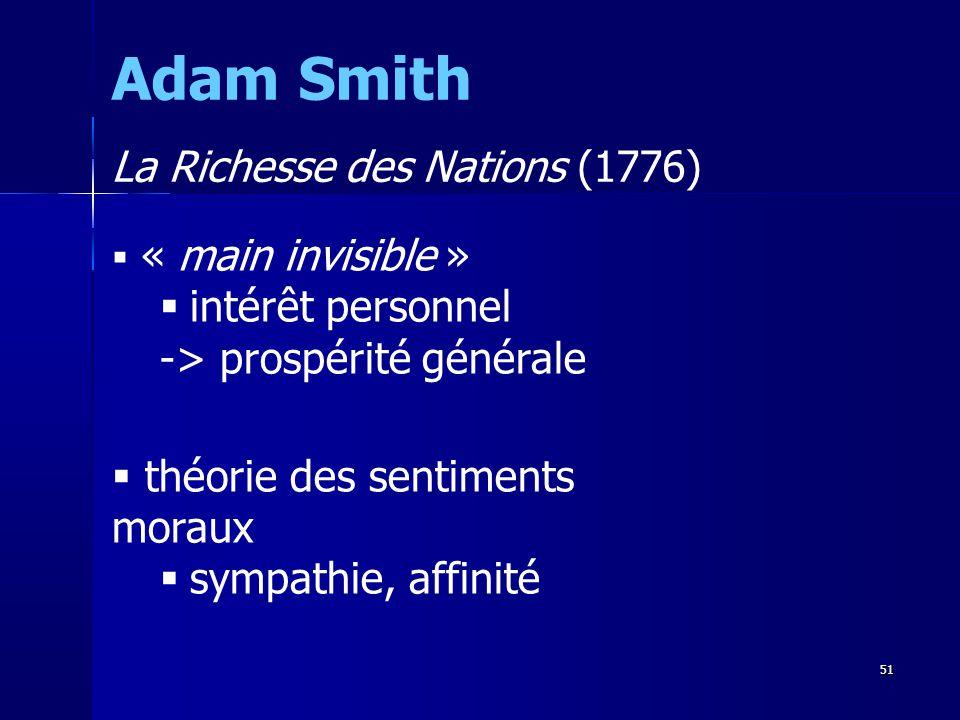 Adam Smith La Richesse des Nations (1776) intérêt personnel