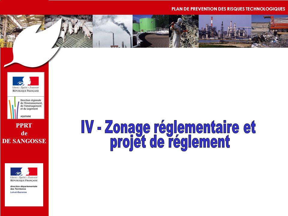IV - Zonage réglementaire et