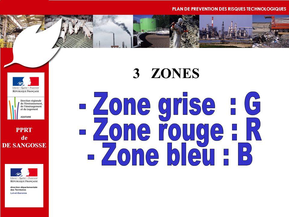 3 ZONES - Zone grise : G - Zone rouge : R - Zone bleu : B PPRT de