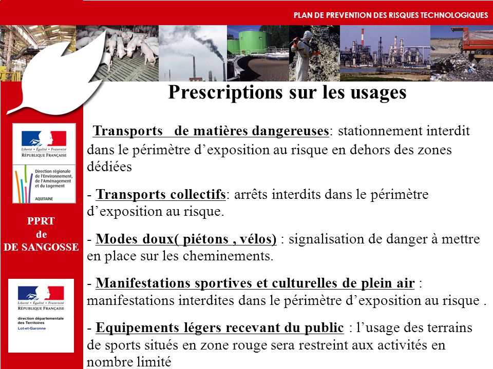 Prescriptions sur les usages