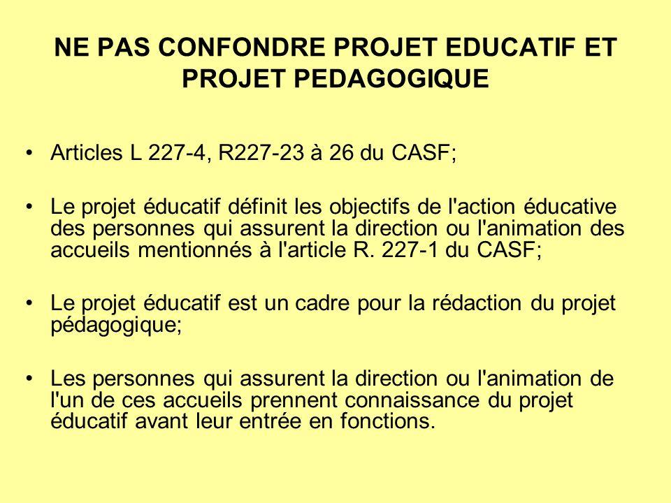 NE PAS CONFONDRE PROJET EDUCATIF ET PROJET PEDAGOGIQUE