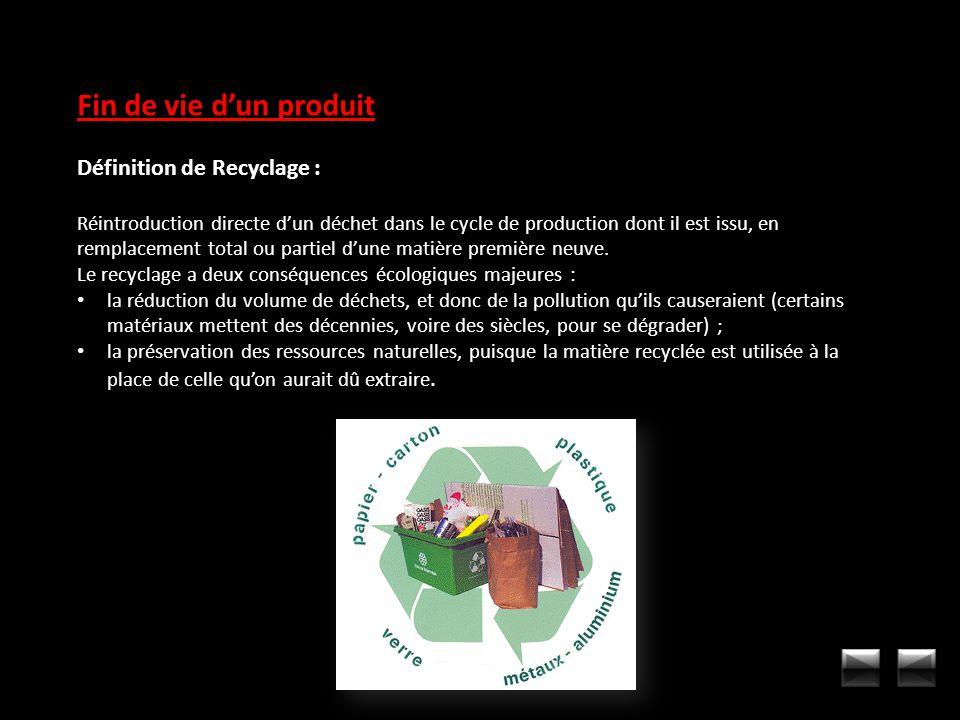 Fin de vie d'un produit Définition de Recyclage :