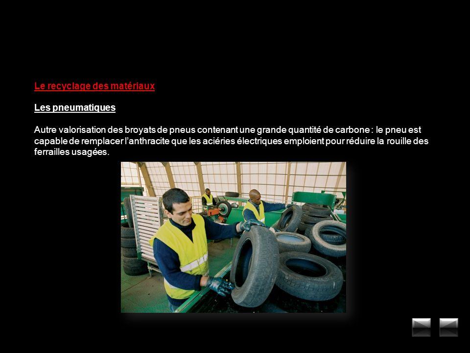 Le recyclage des matériaux Les pneumatiques