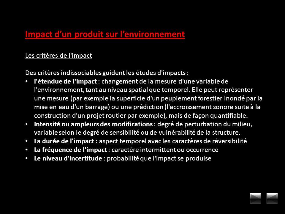 Impact d'un produit sur l'environnement