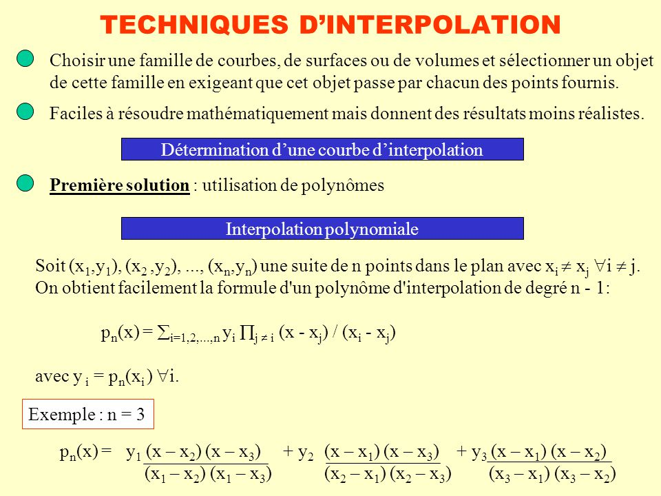 TECHNIQUES D'INTERPOLATION
