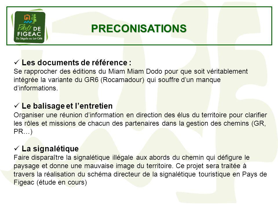 PRECONISATIONS Les documents de référence : Le balisage et l'entretien