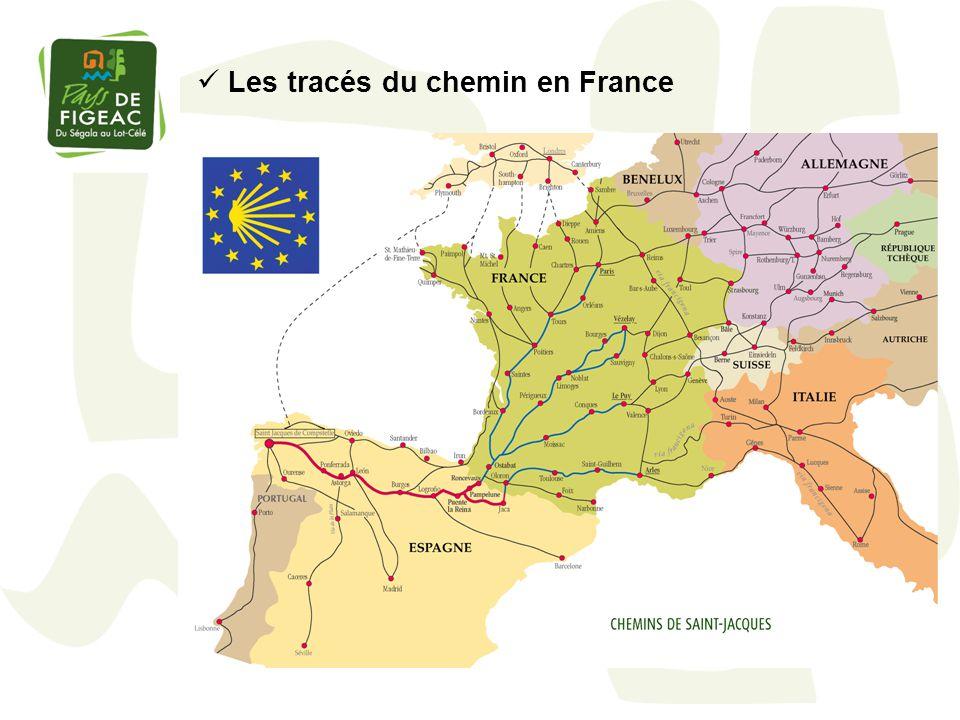 Les tracés du chemin en France