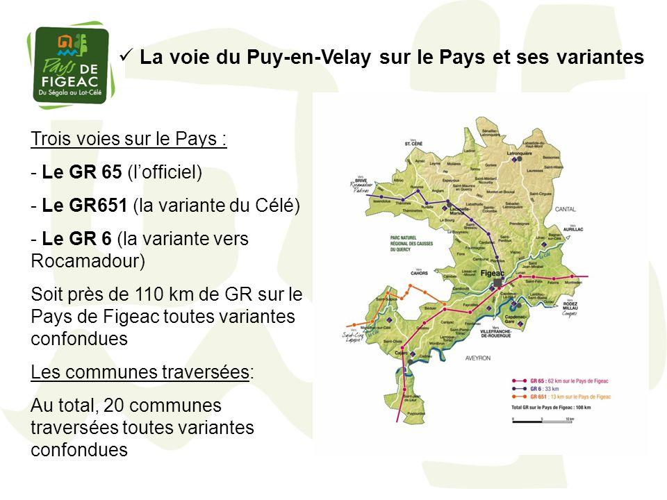 La voie du Puy-en-Velay sur le Pays et ses variantes