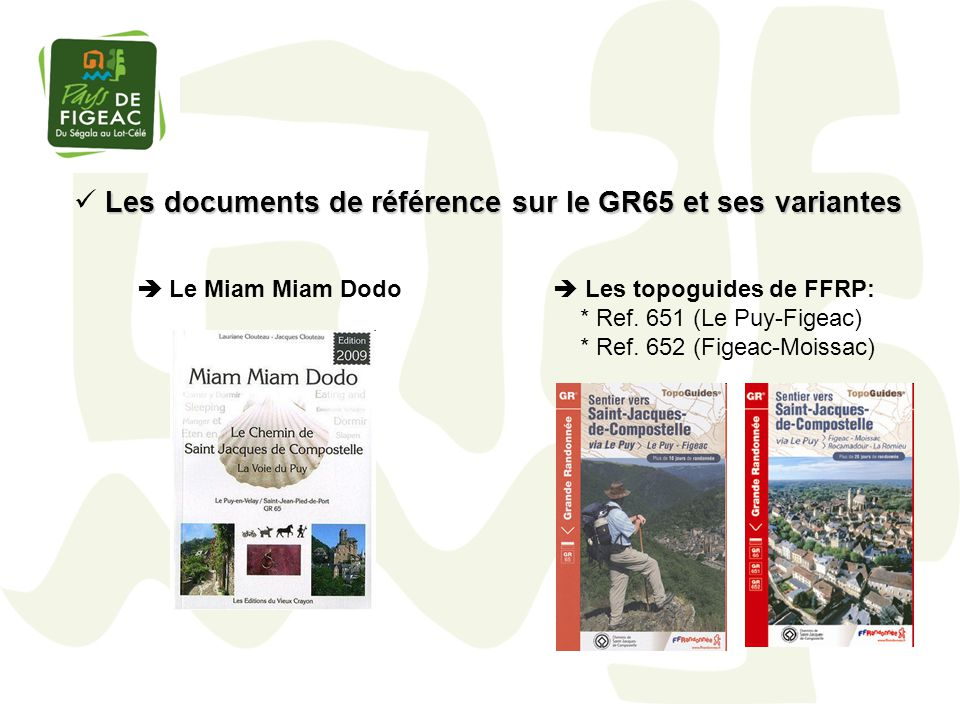 Les documents de référence sur le GR65 et ses variantes