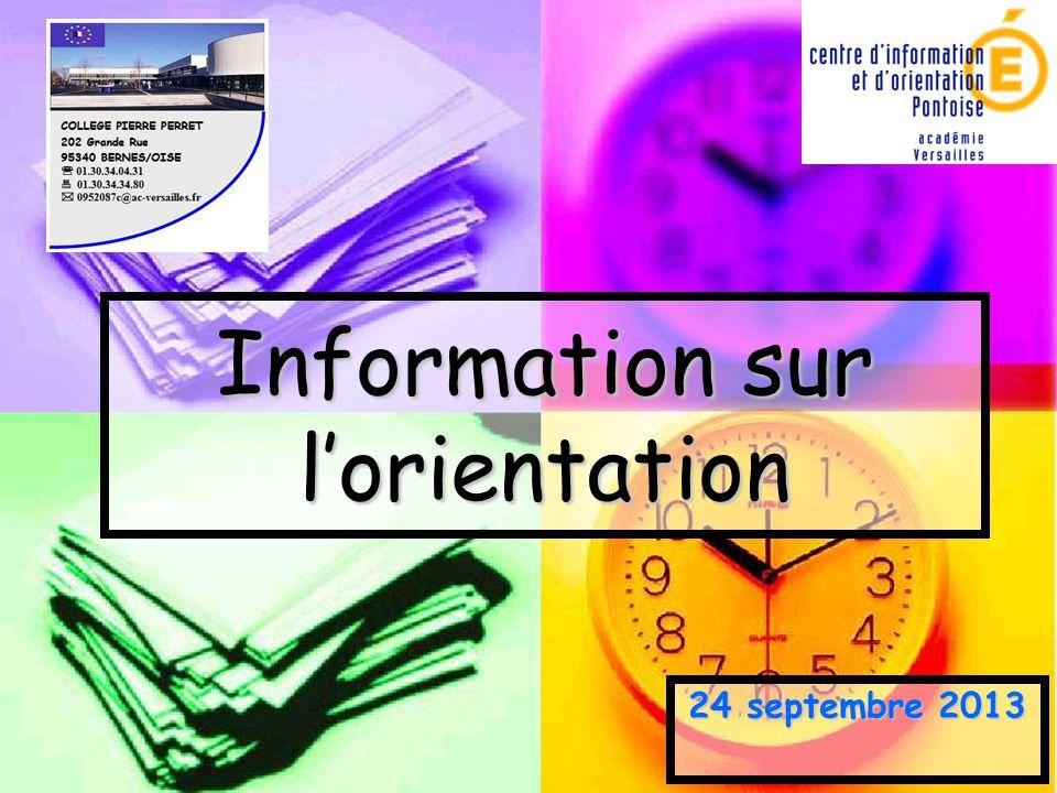 Information sur l'orientation