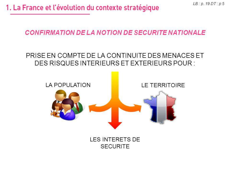 CONFIRMATION DE LA NOTION DE SECURITE NATIONALE