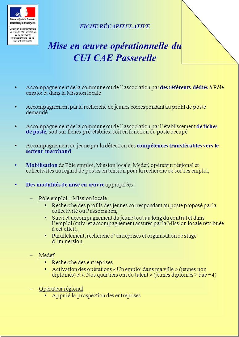 FICHE RÉCAPITULATIVE Mise en œuvre opérationnelle du CUI CAE Passerelle
