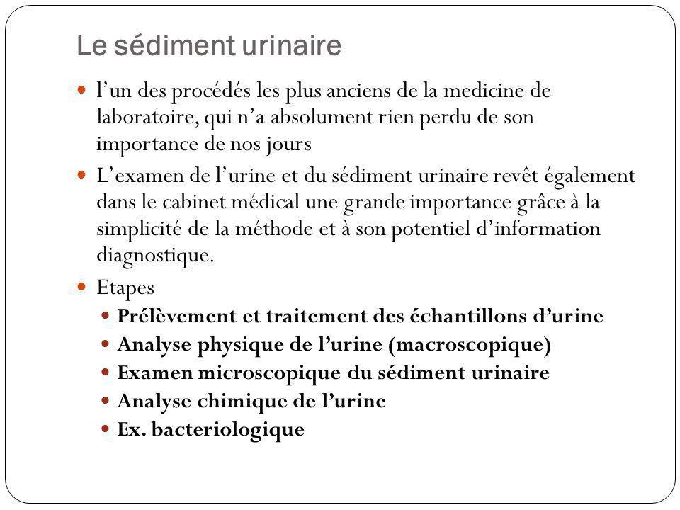 Le sédiment urinaire l'un des procédés les plus anciens de la medicine de laboratoire, qui n'a absolument rien perdu de son importance de nos jours.