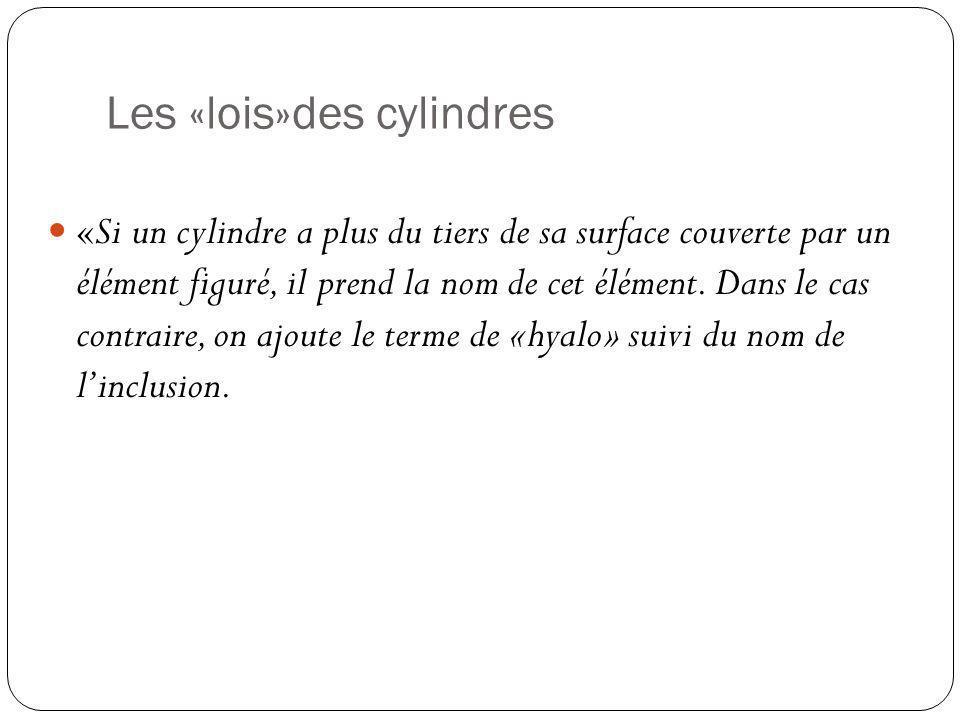 Les «lois»des cylindres