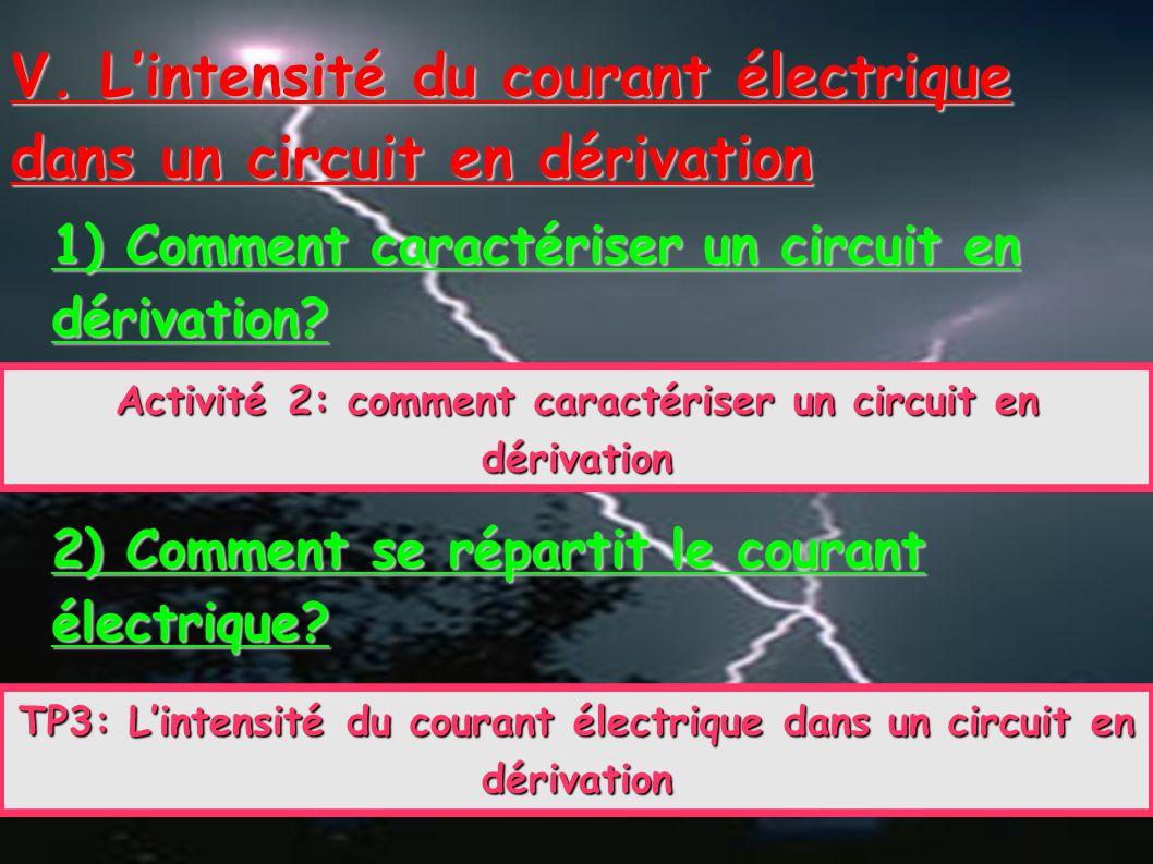 V. L'intensité du courant électrique dans un circuit en dérivation