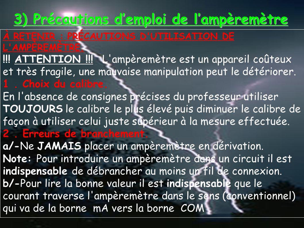 3) Précautions d'emploi de l'ampèremètre