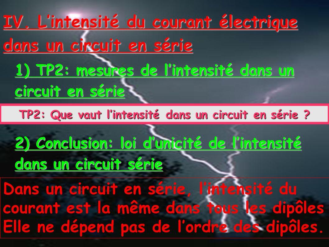 TP2: Que vaut l'intensité dans un circuit en série