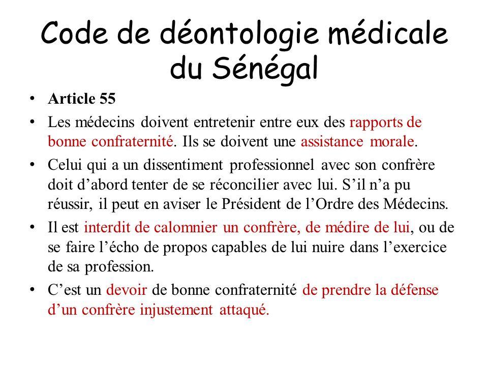 Code de déontologie médicale du Sénégal