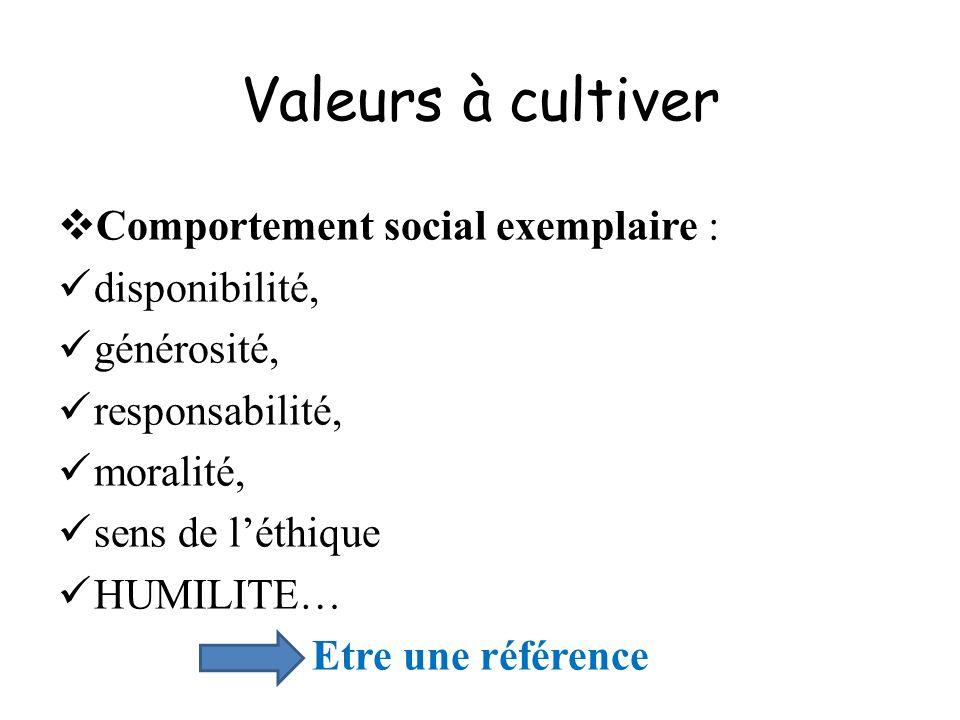 Valeurs à cultiver Comportement social exemplaire : disponibilité,