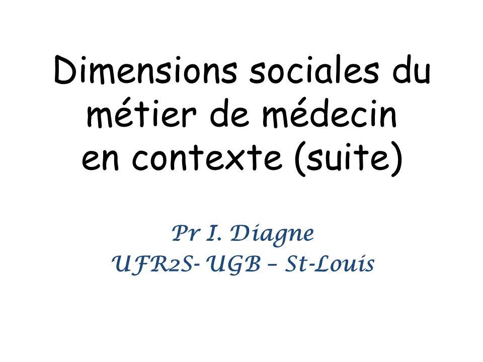 Dimensions sociales du métier de médecin en contexte (suite)