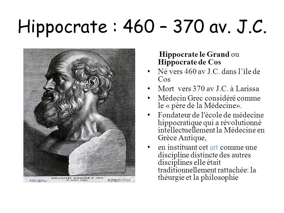 Hippocrate : 460 – 370 av. J.C. Hippocrate le Grand ou Hippocrate de Cos. Né vers 460 av J.C. dans l'île de Cos.
