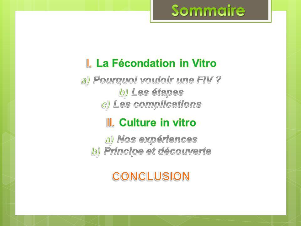 I. La Fécondation in Vitro a) Pourquoi vouloir une FIV