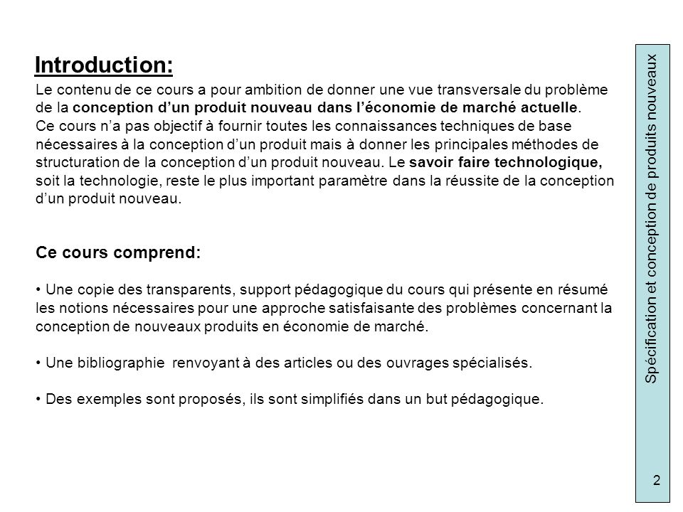 Introduction: Ce cours comprend: