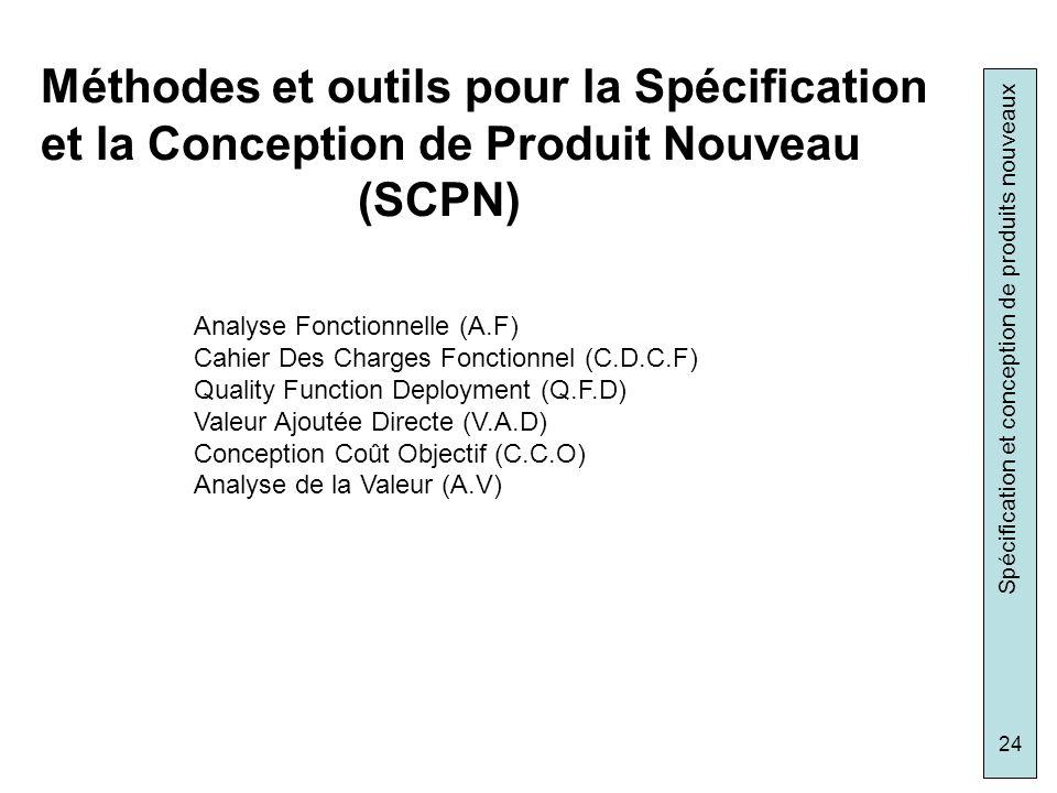 Méthodes et outils pour la Spécification et la Conception de Produit Nouveau (SCPN)