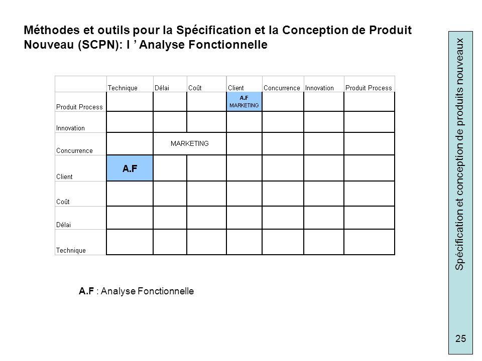 Méthodes et outils pour la Spécification et la Conception de Produit Nouveau (SCPN): l ' Analyse Fonctionnelle